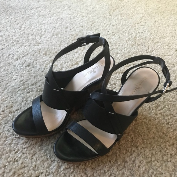 Cole Haan Shoes - Cole Haan Black leather wooden wedge sandals.